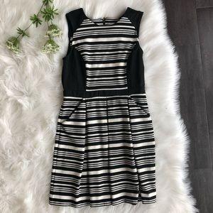 Ann Taylor Loft Dress Black & White Striped A-line